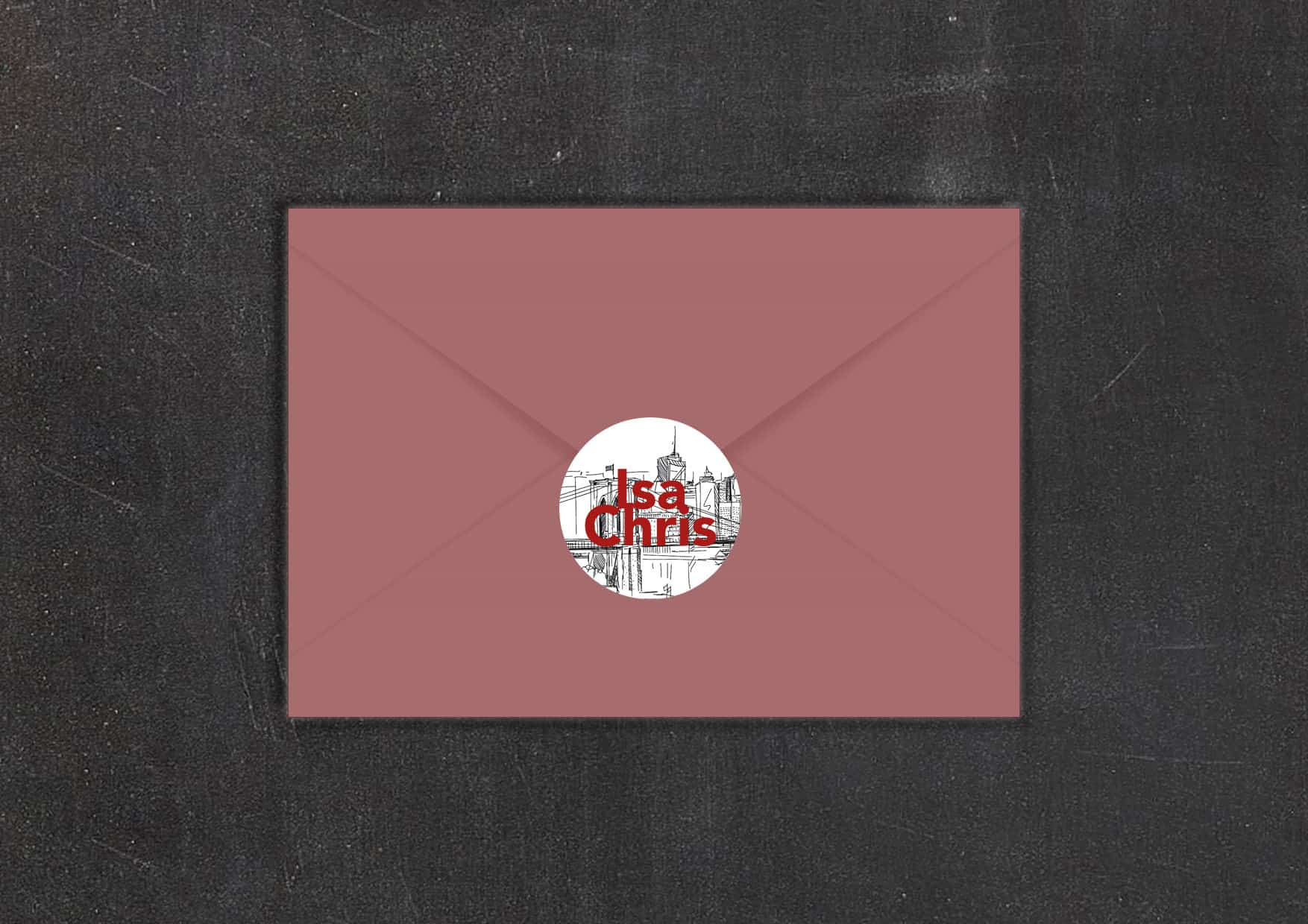Hochzeitsdesign City Love Umschlag und Aufkleber