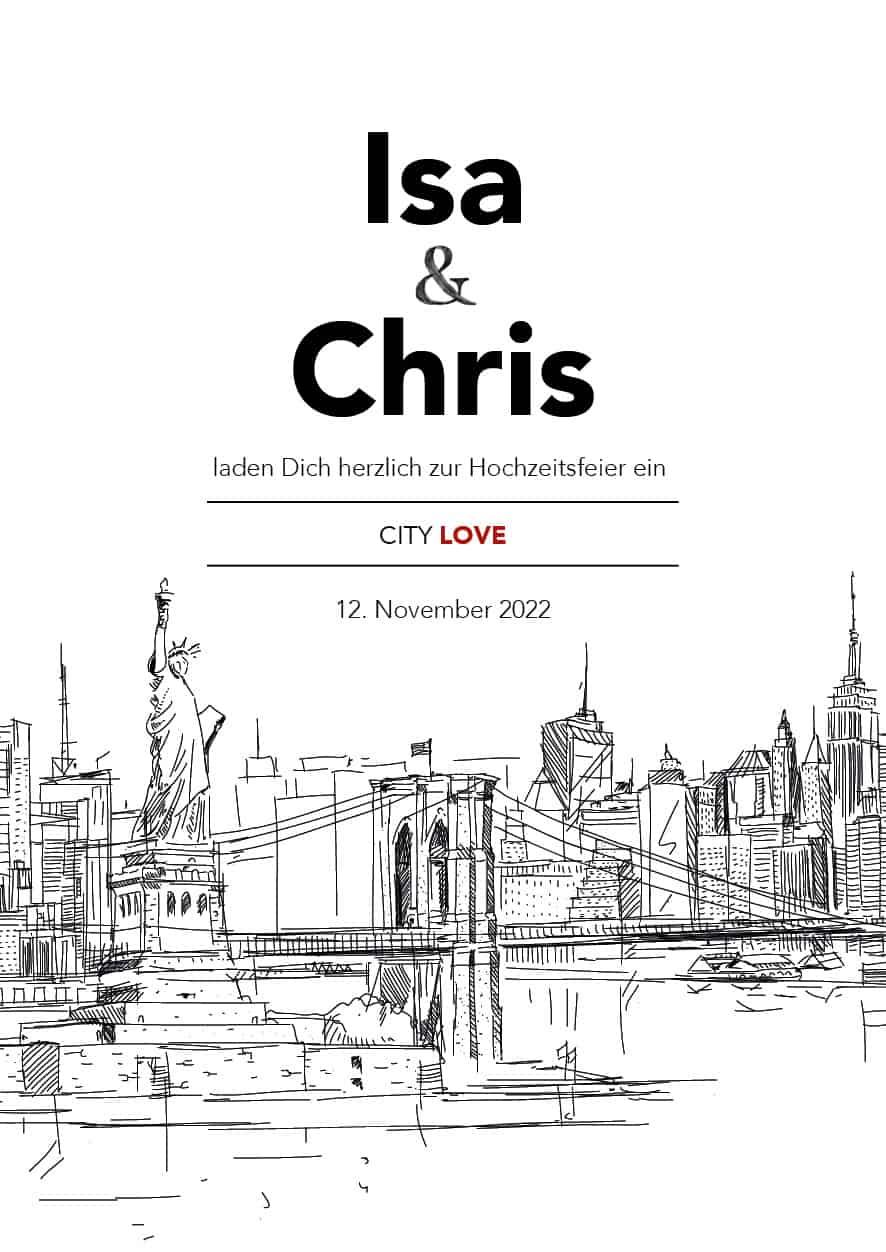 Hochzeitsdesign City Love Einladung