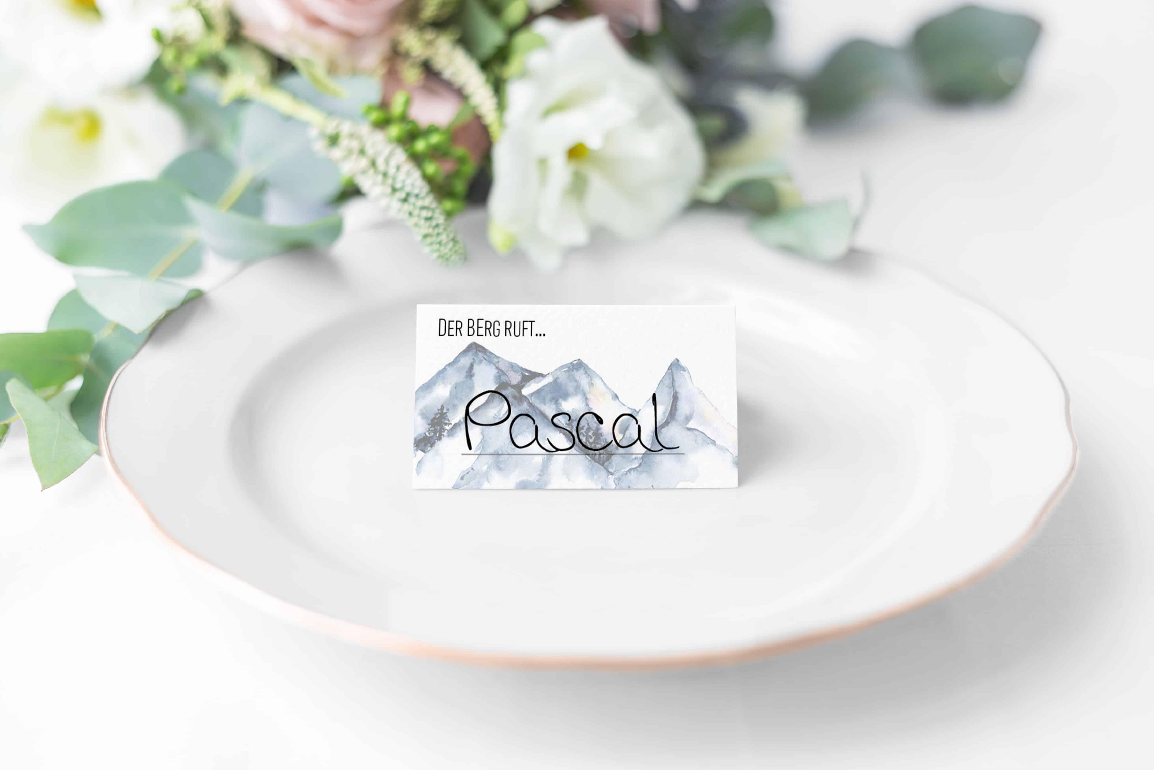 Hochzeitsdesign Bergliebe Tischkarte