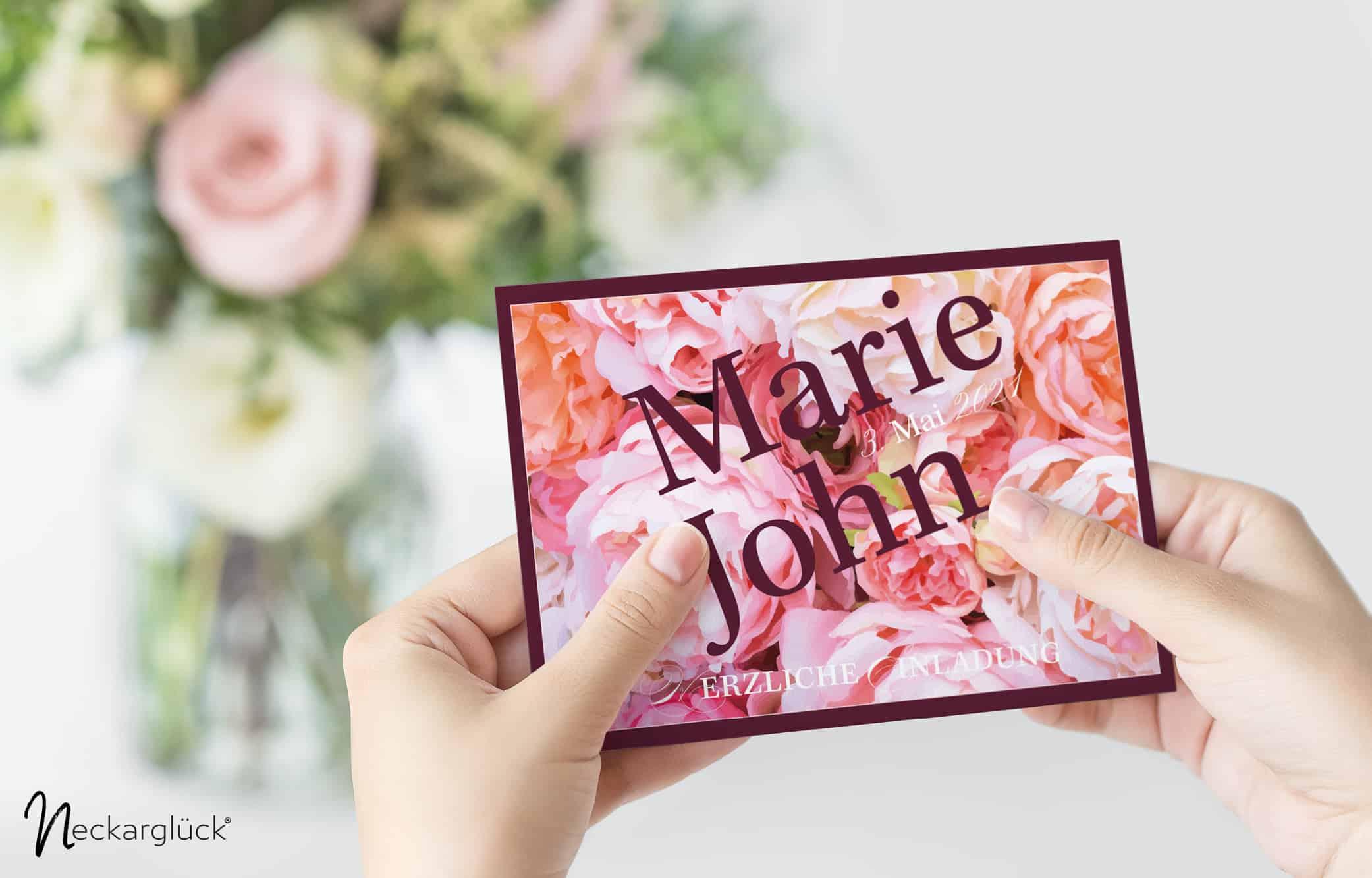 Floral Explosion Hochzeitsdesign Einladungskarte