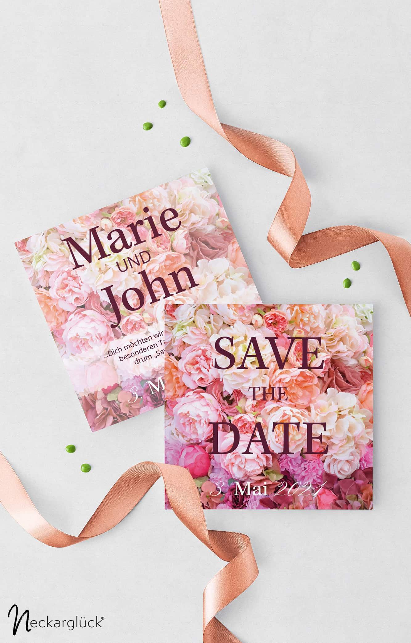Floral Explosion Hochzeitsdesign Save the Date Karte