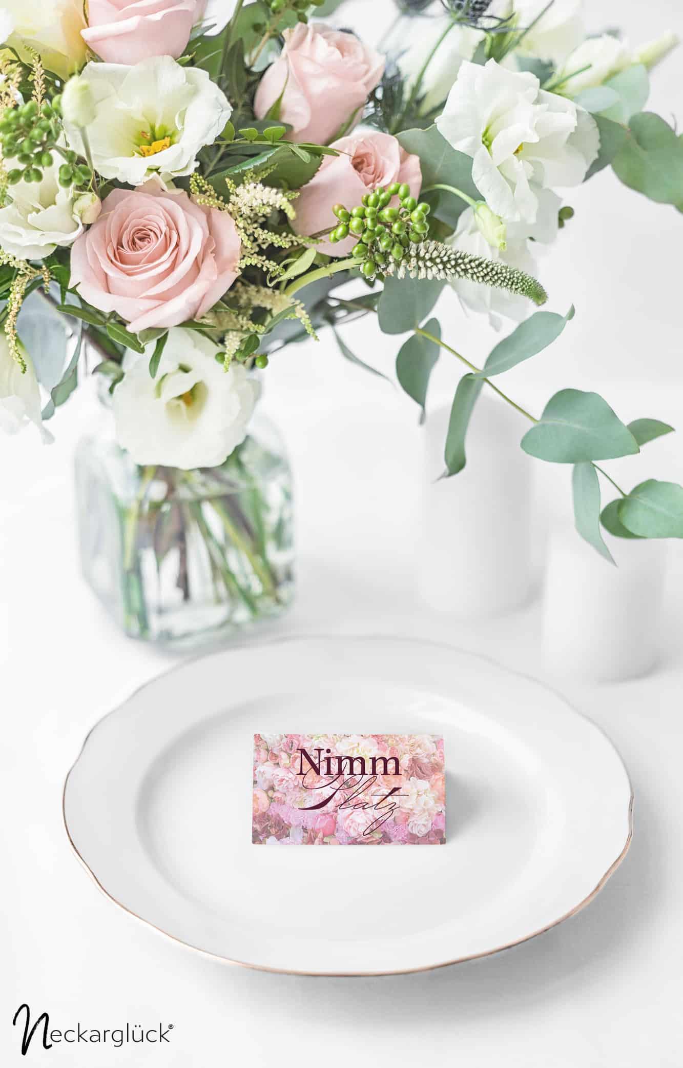 Floral Explosion Hochzeitsdesign Tischkarte