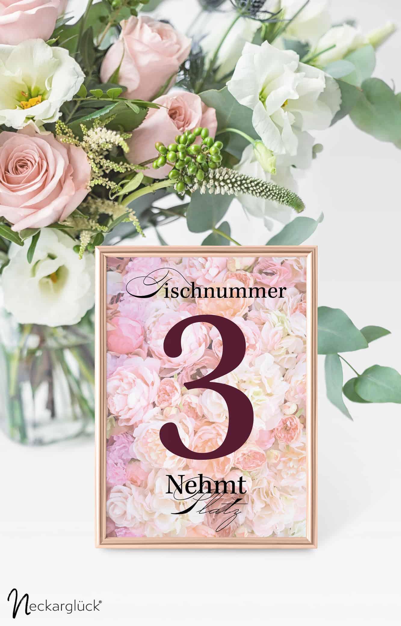 Floral Explosion Hochzeitsdesign Tischnummer